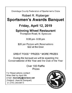 Onondaga County Federation of Sportsmen's Clubs Annual Awards Banquet
